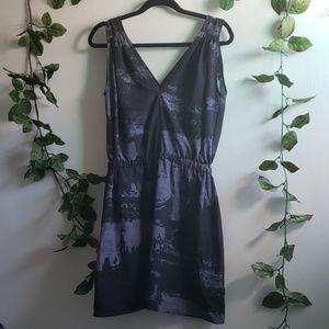 Abstract print woven knee length dress